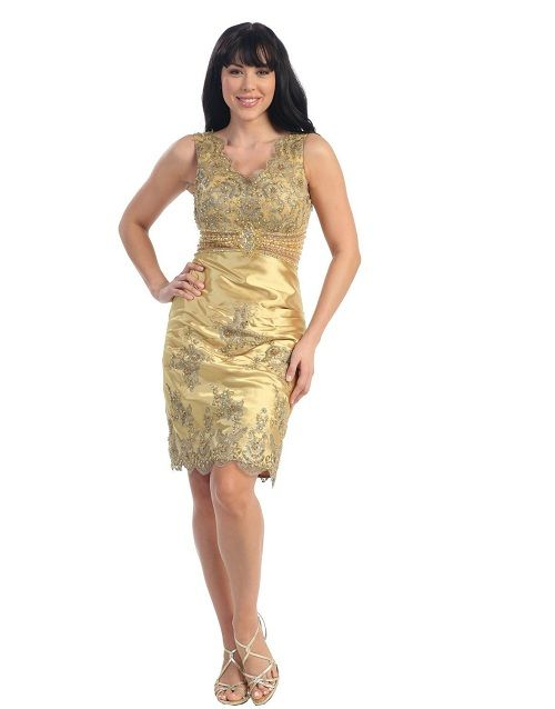 Gold Prom Dresses   love cute short gold tight prom party homecoming ...