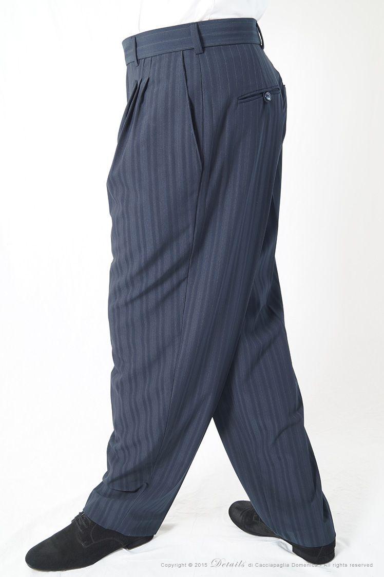 09620d2b56 Pantalone Gessato Oxford Blu - Pantalone Tango uomo blu dal gessato ...