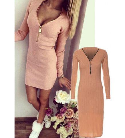 Melia Caramel Ribbed Chunky Zip Detail Side Slit Long Sleeves Bodycon Midi Dress Pre-Order