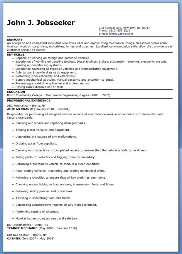 Auto Mechanic Resume Sample Free  Auto Mechanic Resume