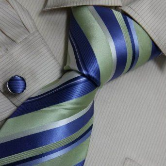 Blue Striped Designer Mens Ties Light Sky Blue Gift Giving Formalwear Silk Tie Cuff Links Set 8055