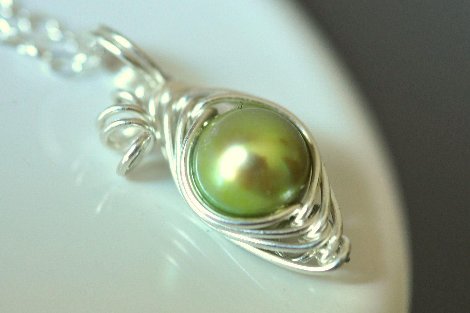 ONE PEA So Precious necklace --lime green freshwater pearl, sterling silver. $32,00, via Etsy.