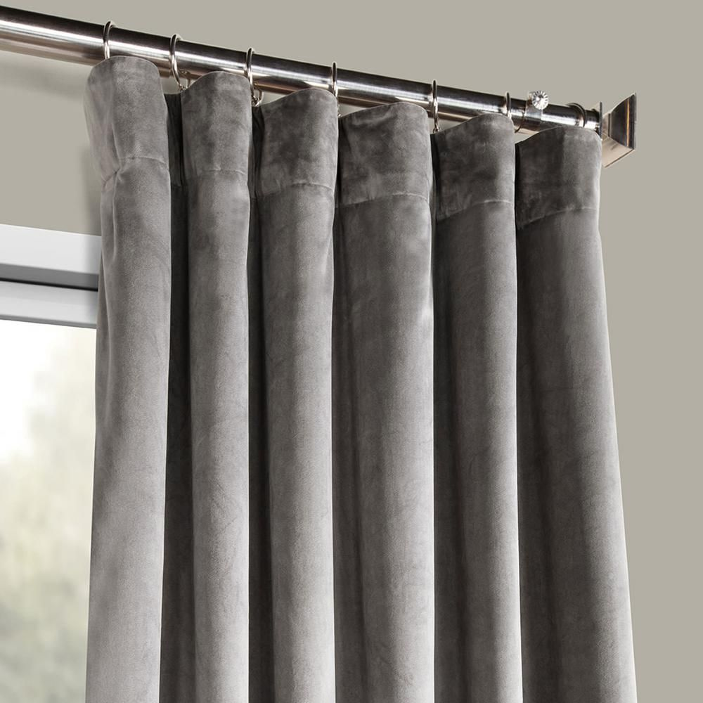 Exclusive Fabrics Furnishings Destiny Grey Plush Velvet Curtain 50 In W X 84 In L Vpyc 161213 84 The Home Depot Grey Velvet Curtains Velvet Curtains Grey Curtains Living Room