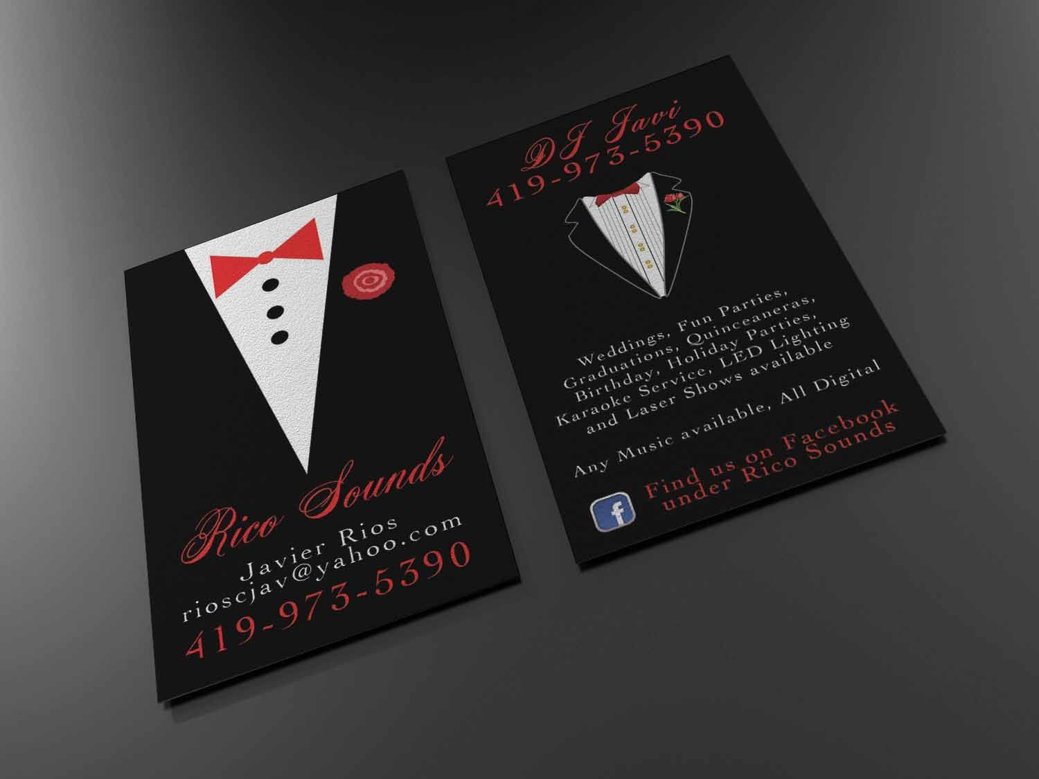 a more formal business card design for a wedding dj that we have ...