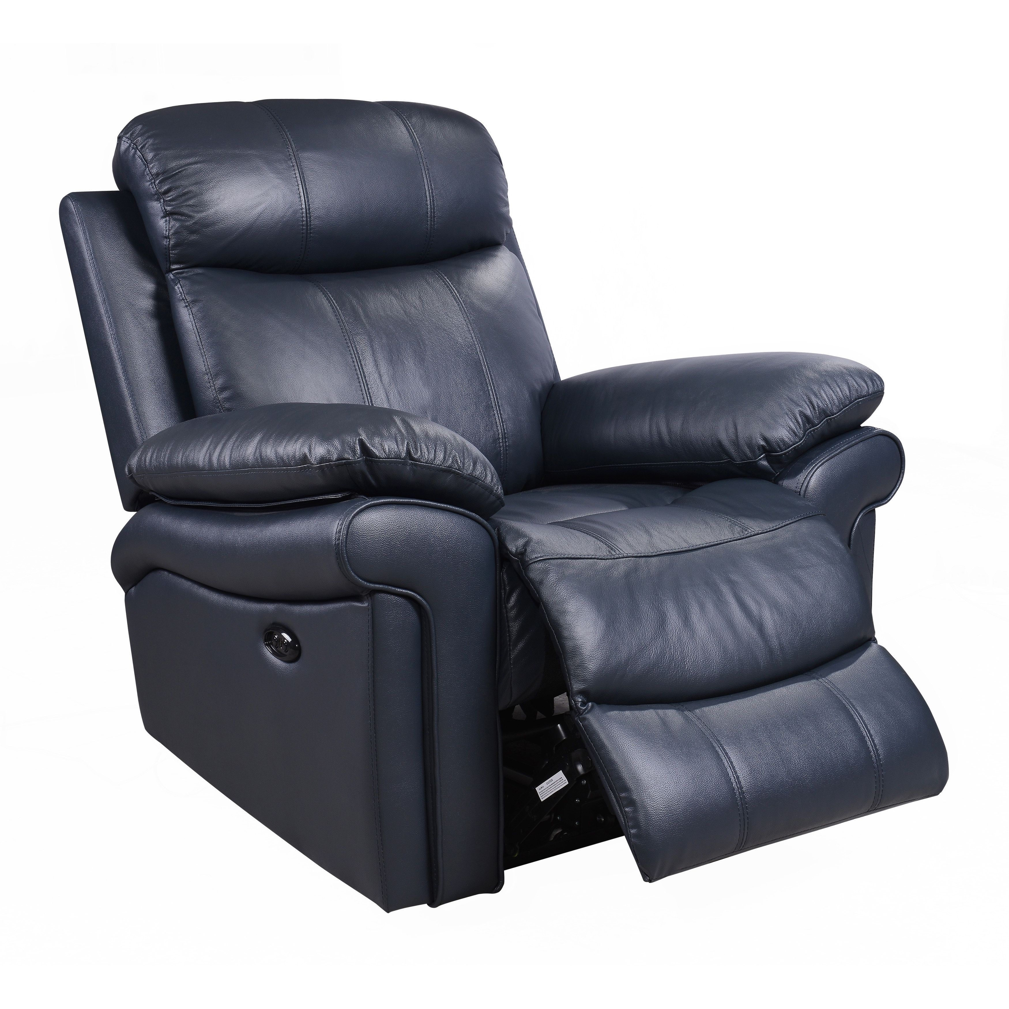 Electric Recliner Leather Chairs Hudson Top Grain Leather Power Recliner Brown Blue Red Blue