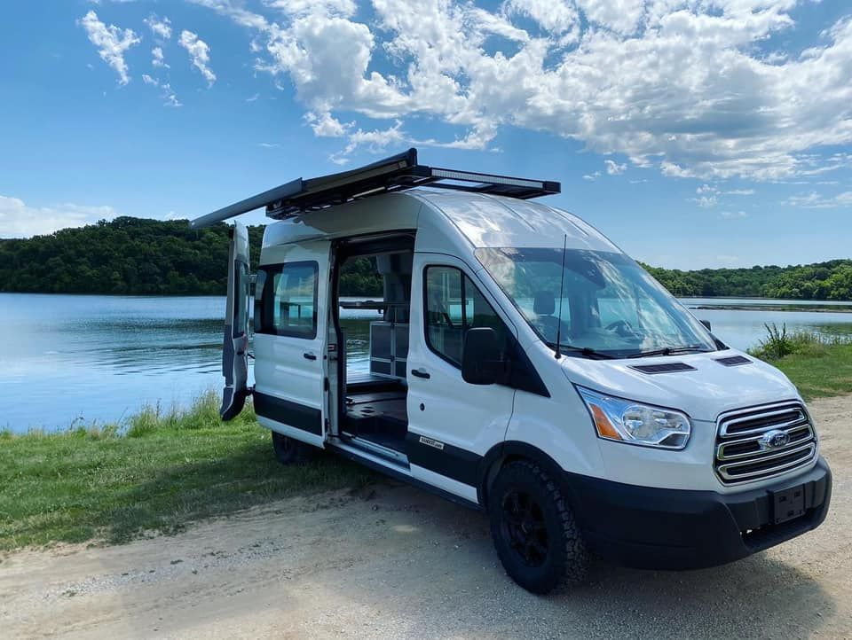 High Roof Ford Transit Camper Van Built By Vandoit Out Of Blue Springs Missouri In 2020 Ford Transit Ford Transit Camper Transit Camper