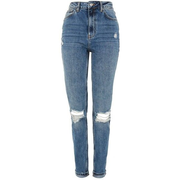 Designer Clothes, Shoes & Bags for Women | SSENSE. TopShop Tall Mid Blue  Ripped Mom Jeans ...