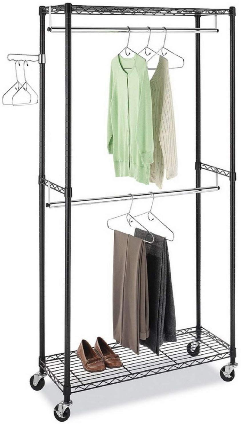 Heavy duty wire shelving wardrobe clothes closet 2tier