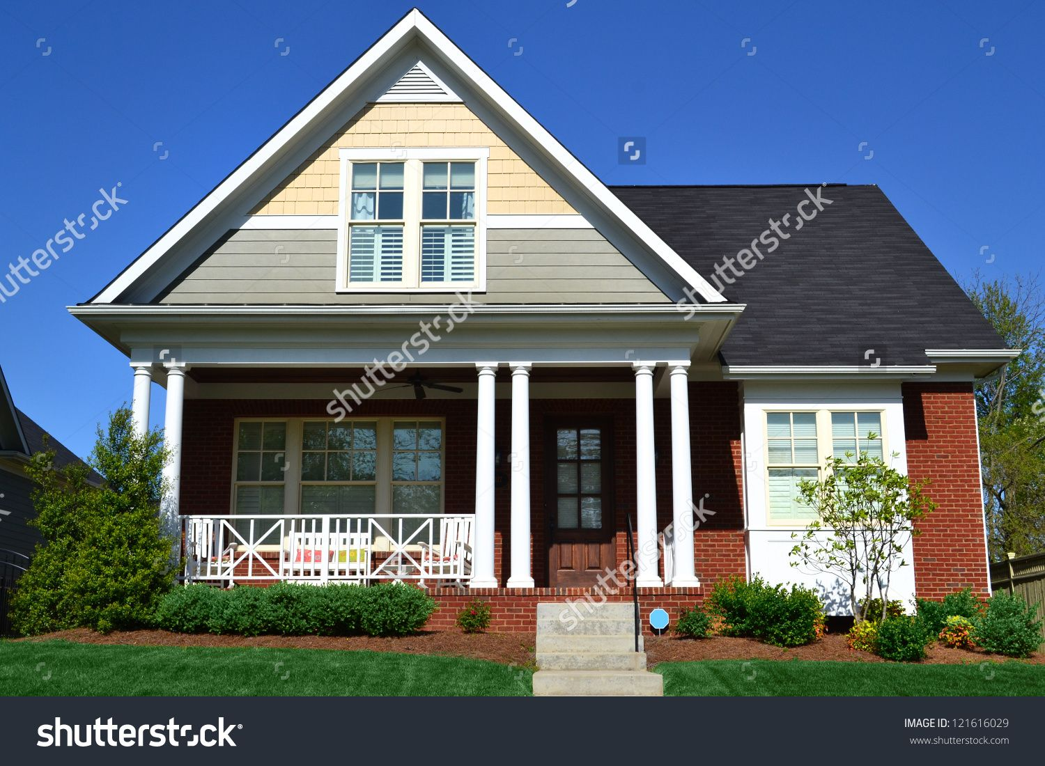 Cape Cod Front Porch Ideas Part - 21: Taupe, Yellow, And Brick Cape Cod American Home With Front Porch - Buy This  Stock Photo On Shutterstock U0026 Find Other Images.