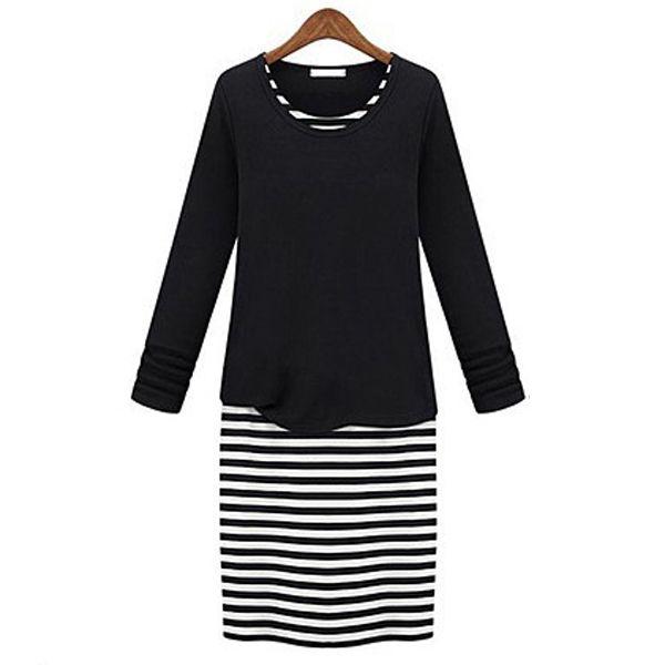 Fake Two Pieces Stripe Bodycon Dress Black Deep Grey