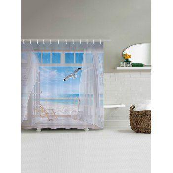 Beach Balcony Print Bathroom Shower Curtain W71 Inch L79 Inch