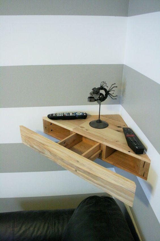 Reclaimed Pallet Wood Corner Floating Shelf With Hidden Drawer Tv