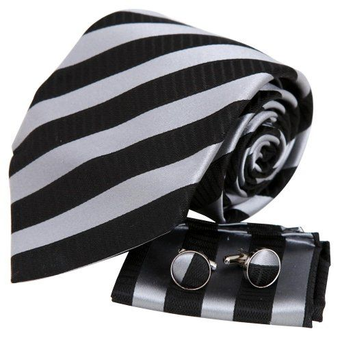 Black tie designer for mens silver stripes Valentine fashion silk necktie cufflinks hanky set H5137  Black Y&G http://www.amazon.com/dp/B003K18ZAI/ref=cm_sw_r_pi_dp_mZbaxb1K3KQDV