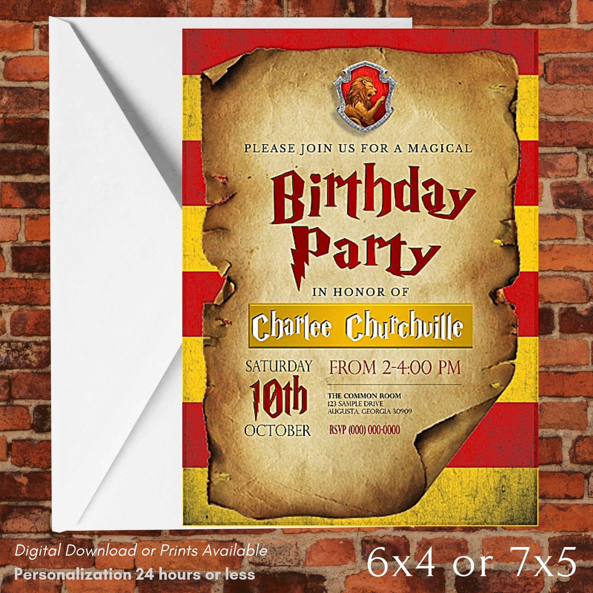 Harry potter gryffindor birthday invitation gryffindor