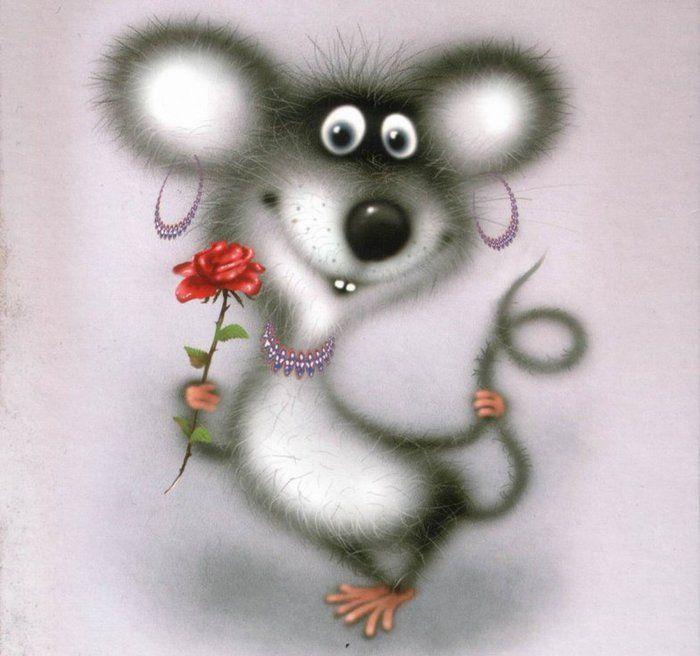 Мышка прикольная открытка, днем
