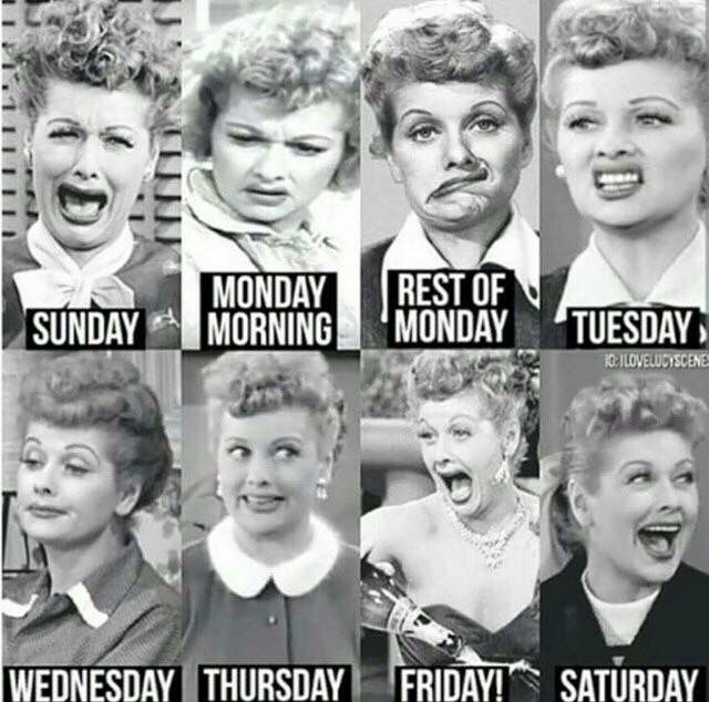 Days Of The Week According To Lucy Lol I Love Lucy Teacher Humor Love Lucy