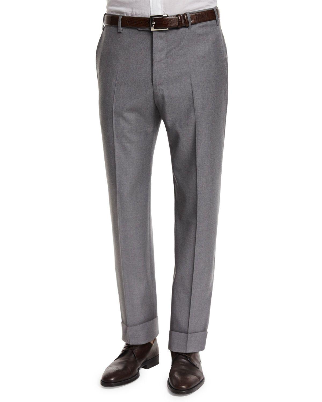 Men's grey flannel trousers  Zanella Parker FlatFront Super us Flannel Trousers Grey Menus
