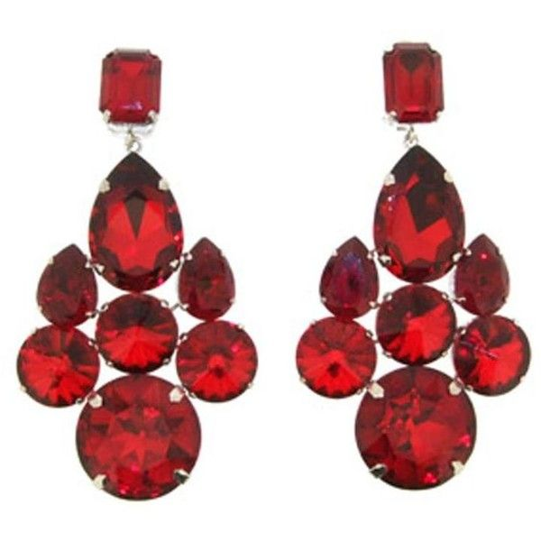 Preowned Dolce Gabbana Red Crystal Statement Earrings 475 Liked On Polyvore Featuring Jewelry Pre Owned