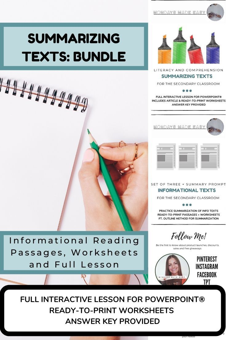 SUMMARIZING NONFICTION TEXTS Bundle ft  Info Reading Passages and Worksheets is part of Reading passages, Summarizing nonfiction, Reading comprehension strategies, Interactive lessons, Nonfiction texts, Assessment for learning - FULL INTERACTIVE LESSON FOR POWERPOINT®INCLUDES 4 INFORMATIONAL TEXTSREADYTOPRINT WORKSHEETS + ANSWER KEY PROVIDEDThis resource teaches the important literacy skill of summarizing nonfiction text  I begin this lesson with the slideshow for PowerPoint®, which will model the process of summarizing b