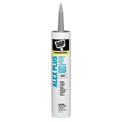 Dap Alex 10 1 Oz Grey Unsanded Paintable Siliconized Acrylic Kitchen And Bathroom Caulk
