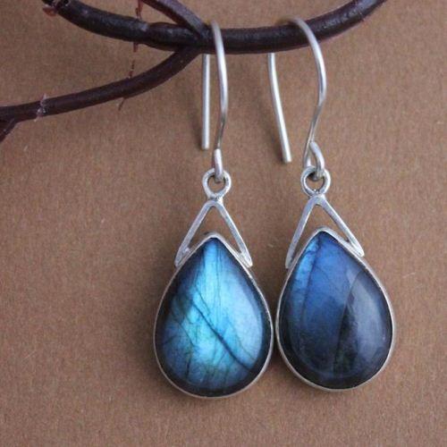 Sterling Silver Labradorite Earrings Dangle Bezel Set Cabochon Earring Gemstone