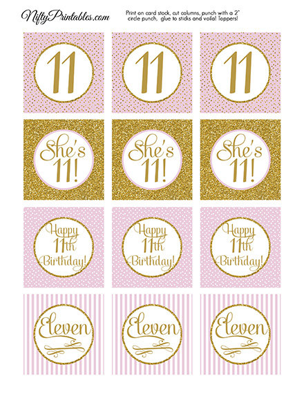 11th Birthday Cupcake Toppers