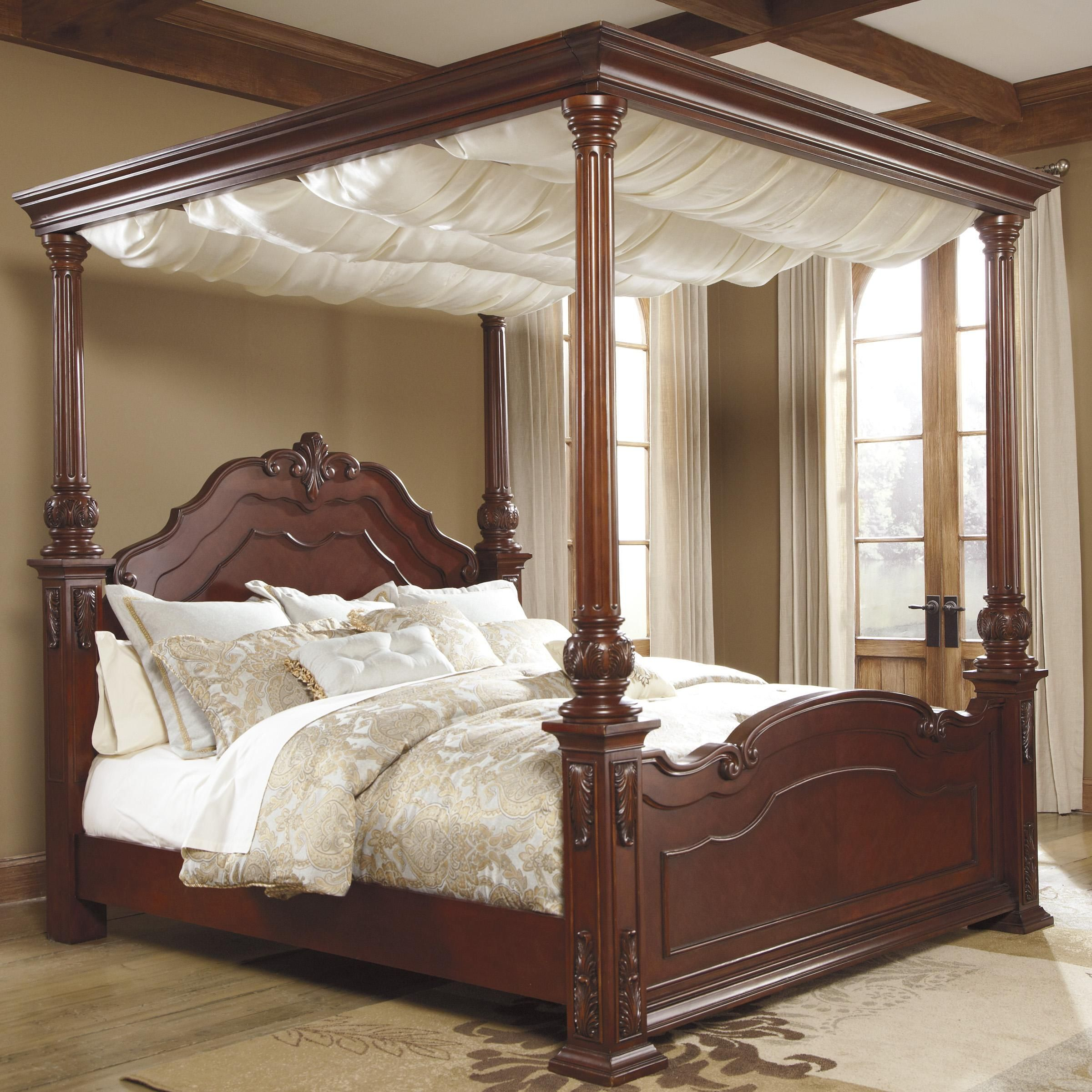 elegant canopy bed curtains king with majestic cream color
