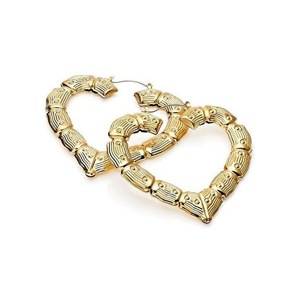 Gold Bamboo Chunky Heart Hoop Earrings AJ28928 ($9.10) ❤ liked on ...