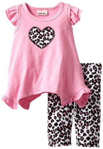 b0537800d4e3 Amazon.com: Little Lass Baby-Girls Infant 2 Piece Capri Set with Animal  Print: Clothing