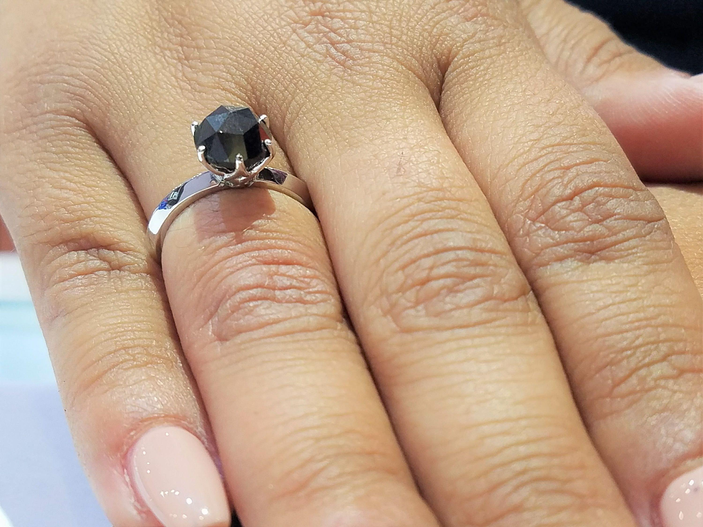 Black diamond engagement ring rose cut black diamond solitaire