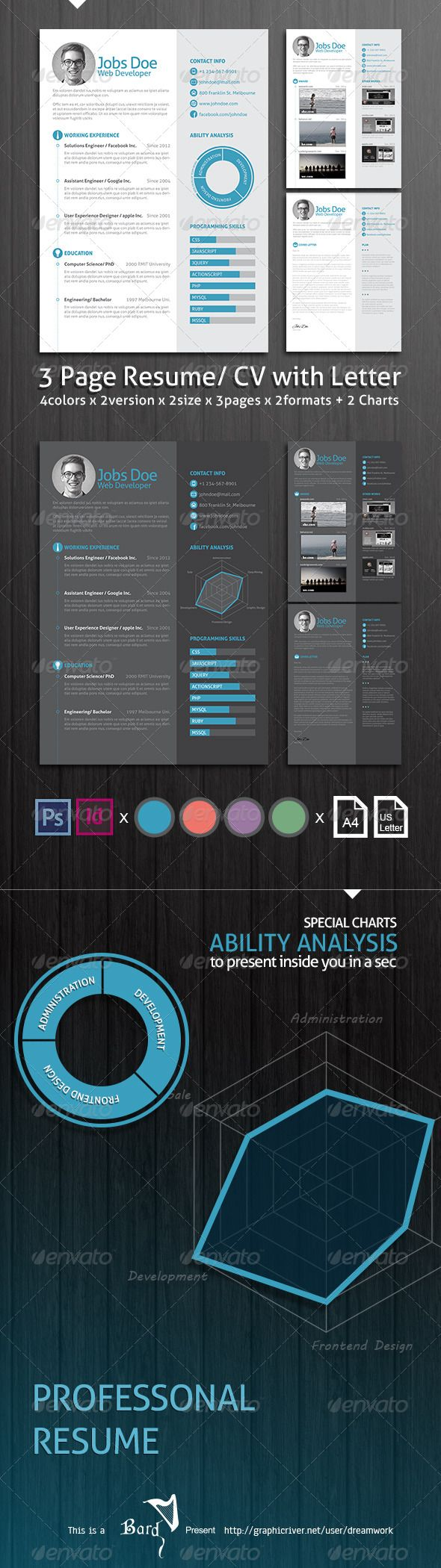 Page Resume Cv With Letter  Resume Cv Psd Templates And Template