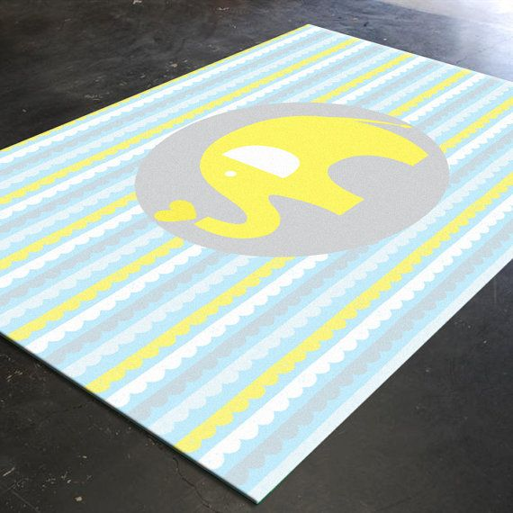 Elephant Nursery Rug By Hawkerpeddler