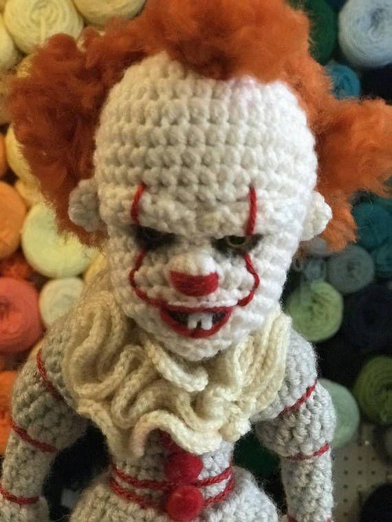Pennywise inspired creepy clown like IT doll Crochet Amigurumi ...