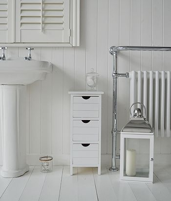 Portland Narrow White Bathroom Storage With 3 Drawers A Three Drawer Free Standing Cabinet From The Range Of Cabinets