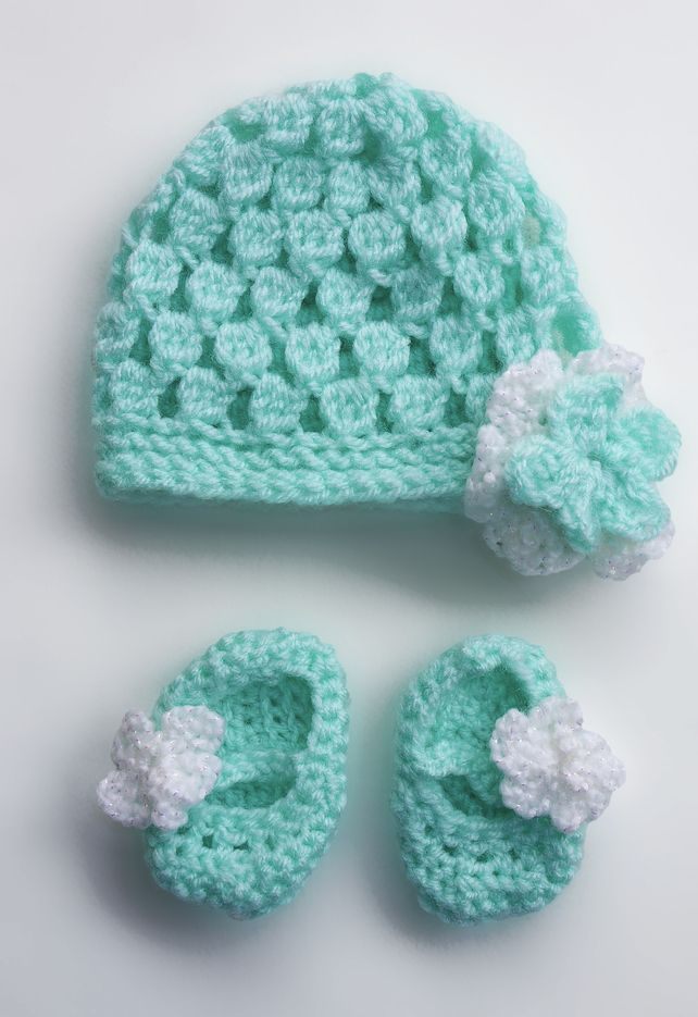 Baby Hat And Bootie Crochet Set Preemie Or Small Baby