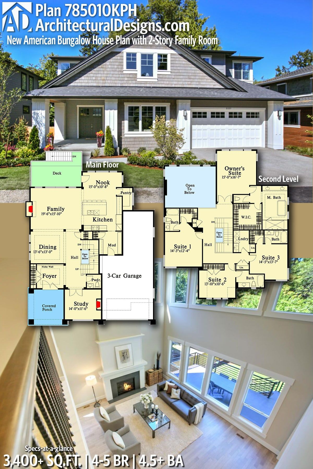 Plan 785010kph New American Bungalow House Plan With 2 Story Family Room Bungalow House Plans House Blueprints Bungalow Style House Plans