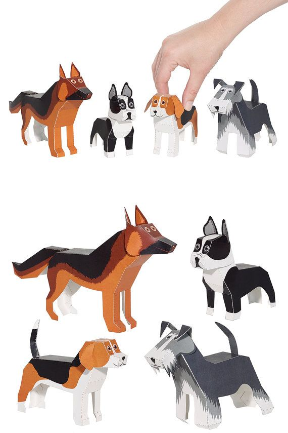 Dogs Paper Toys – DIY Paper Craft Kit – 3D Paper Animals – 4 Pets – Kids Dogs