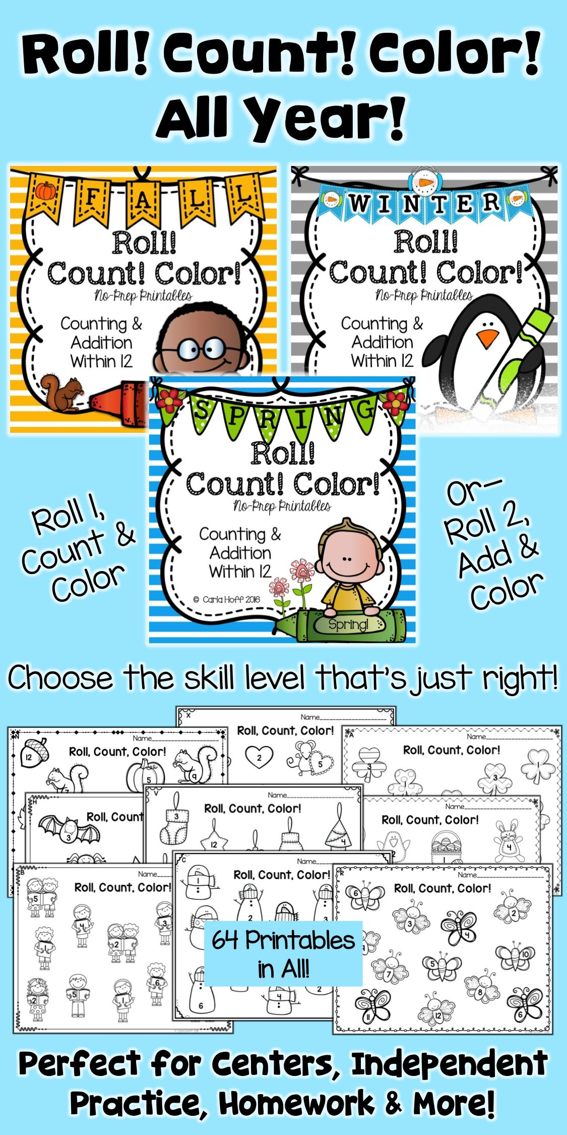 Count And Color Bundle Worksheets For Counting And Adding