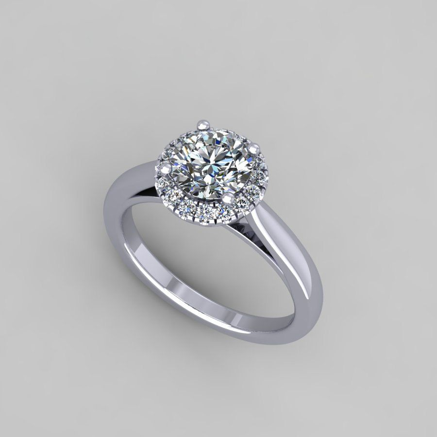 Moissanite engagement ring with ct diamond halo style wdm