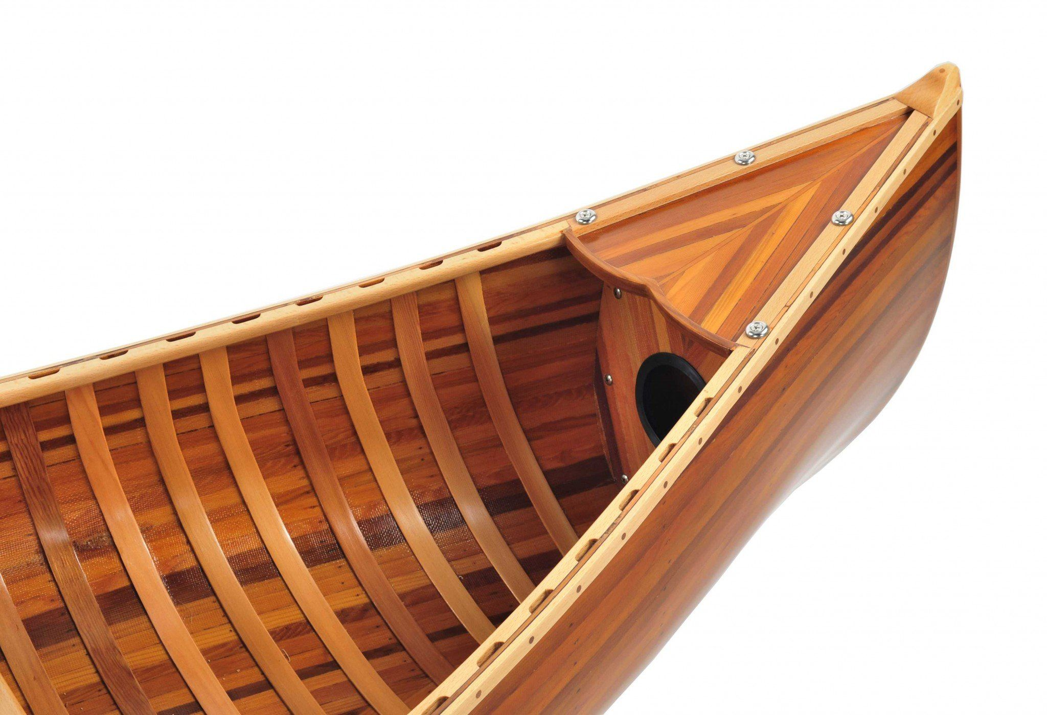 20.25″ x 70.5″ x 15″ Wooden Canoe With Ribs Matte Finish