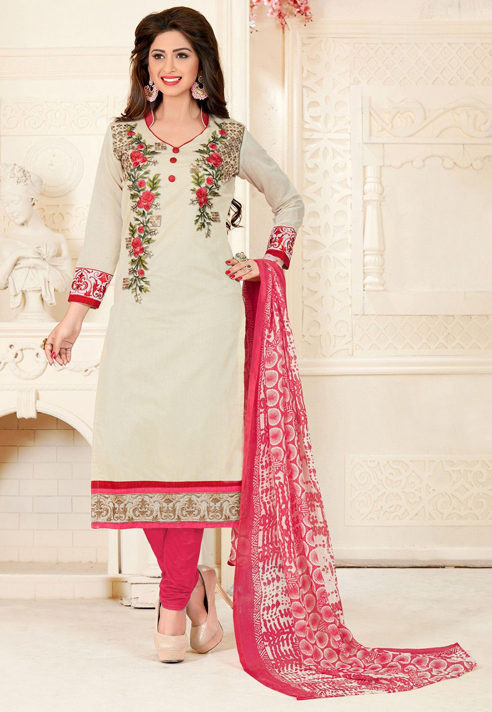 c558641acd Semi-stitched Art Chanderi Silk Straight Kameez in Off White This Chinese  Collar Neck and Quarter Sleeve attire is Prettified with Abstract Print,  Resham, ...
