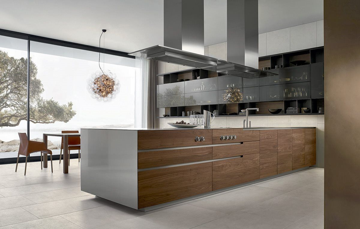 contemporary linear kitchen in white wood and stainless