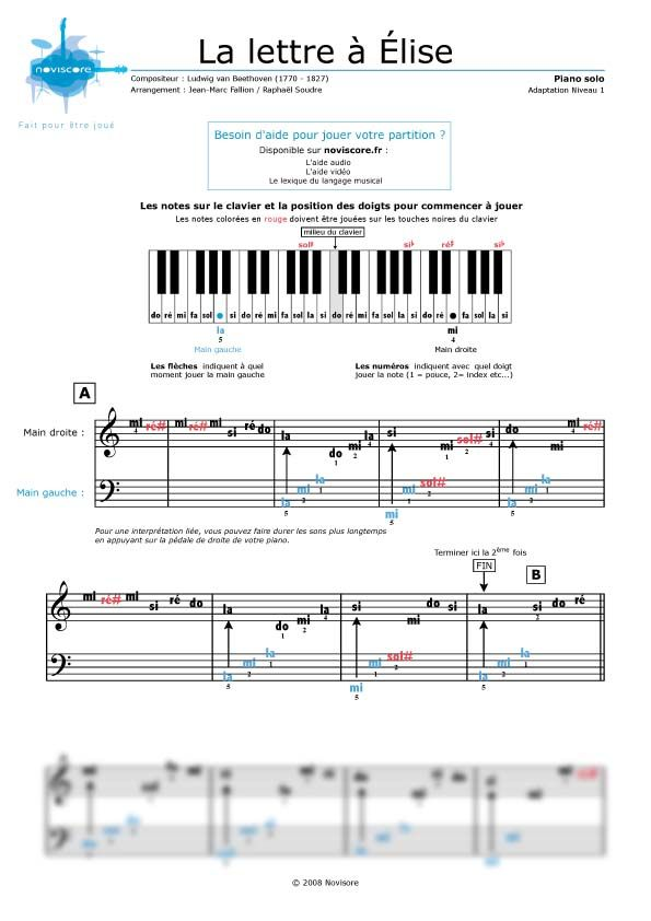 Partition piano facile avec note partition musical for Piano piano facile