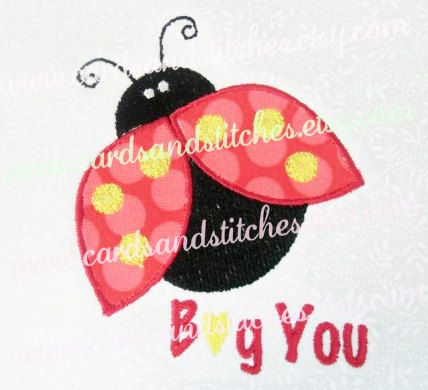 Lady Bug Applique Embroidery - Machine Embroidery Design - Instant Download - 4x4 and 5x7 - Seven formats plus SVG included by cardsandstitches on Etsy