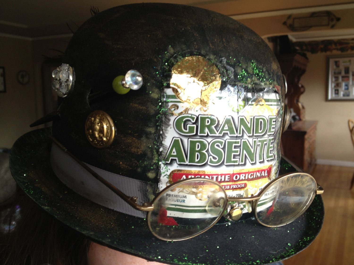 The Green Fairy - steampunk Derby hat. $30.00, via Etsy.