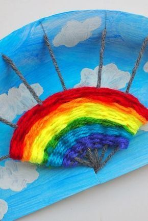 Rainbow Paper Plate Weaving Project #rainbowcrafts