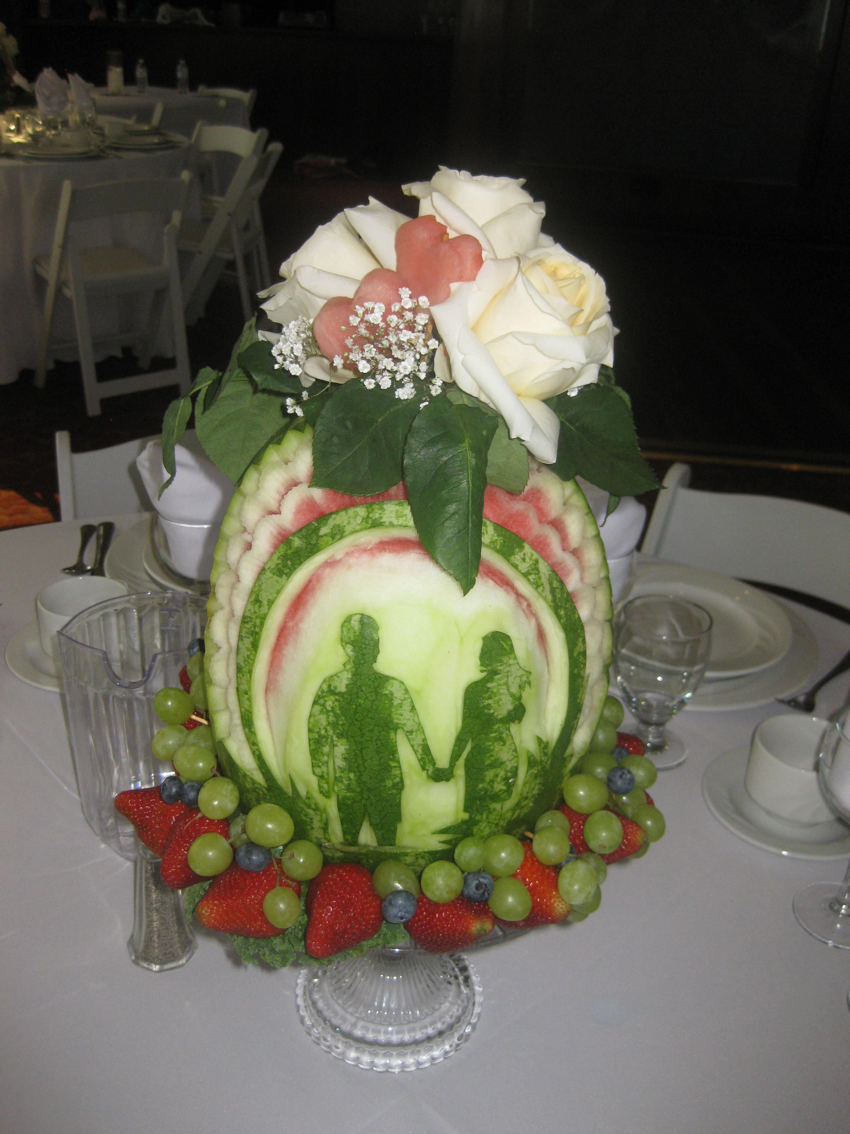 watermelon carved shaped bride  groom personalized