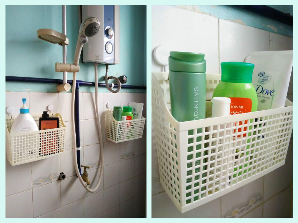 Shower caddies made from command hooks and baskets from Daiso ...