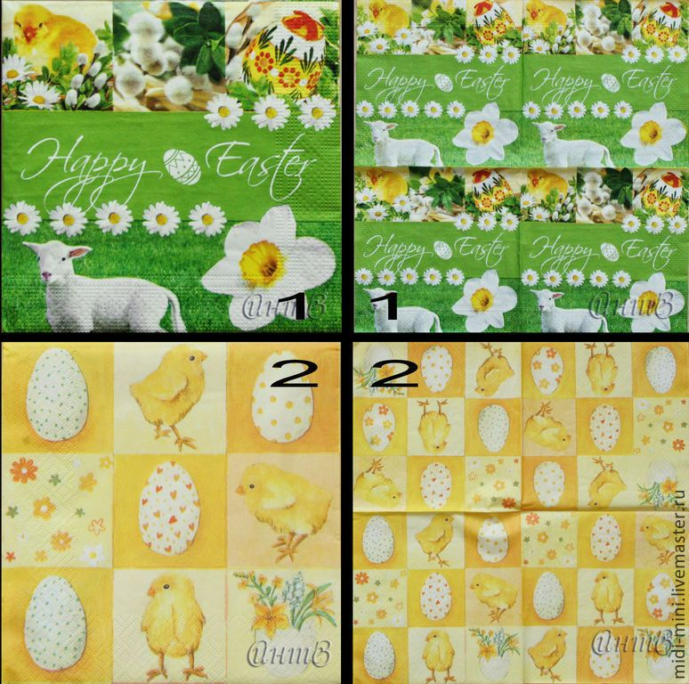 Купить салфетки декупаж 2 вида пасха луга овечка цыплен цветы яйца - салфетка