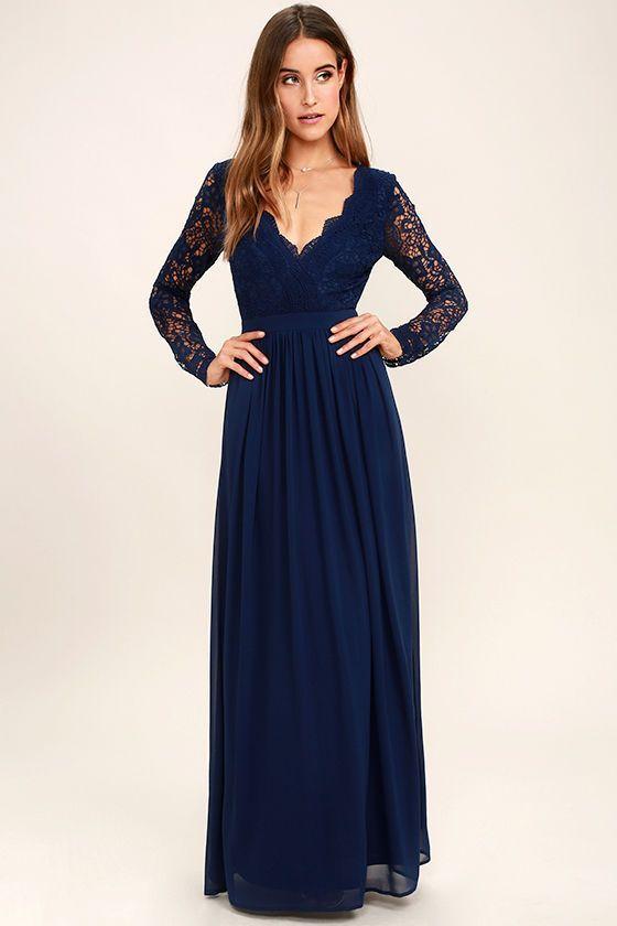 Navy Blue Long Sleeve Lace Maxi Dress
